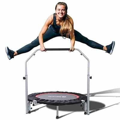 BCAN 40in Foldable Mini Trampoline, Fitness Rebounder with Adjustable Foam Handle