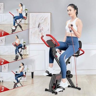 pooboo Indoor Folding Magnetic Upright Bike