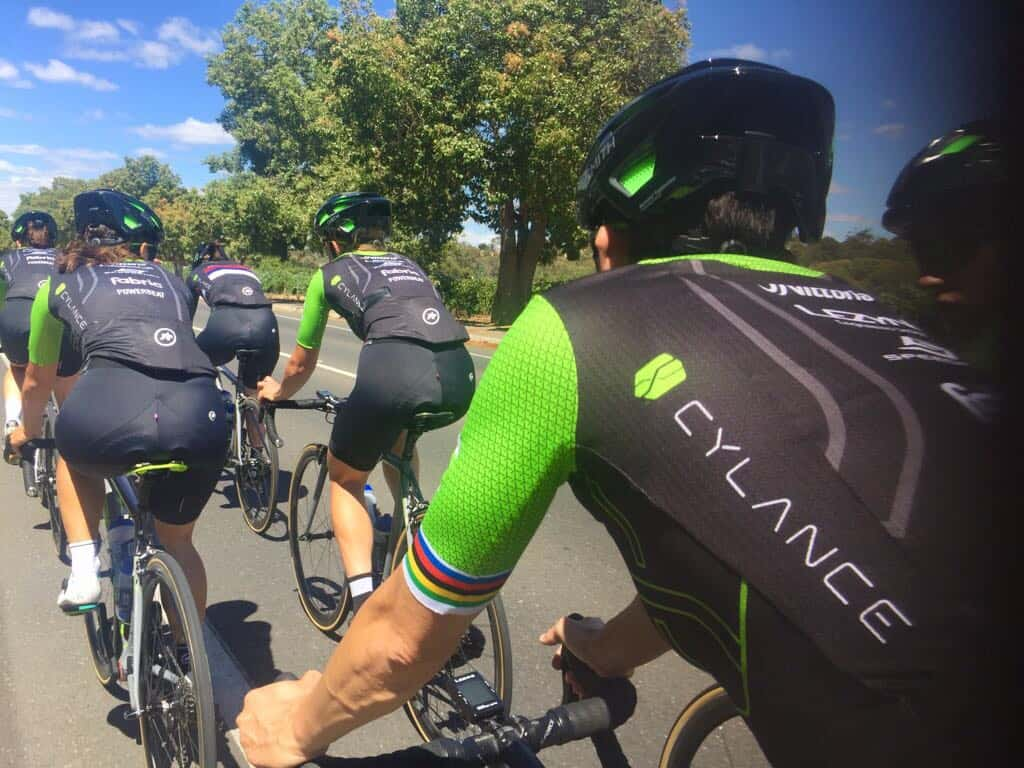 Cylance Pro Cycling riding in street