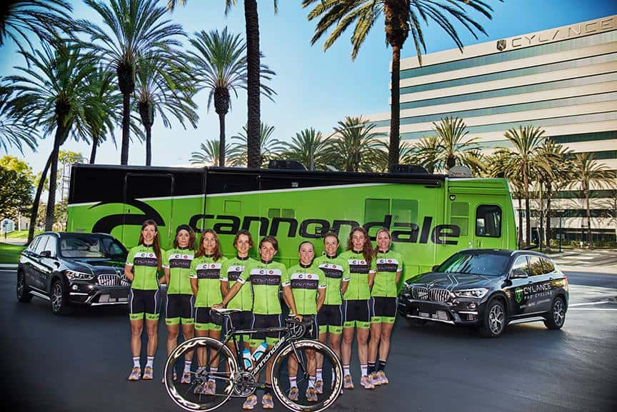 Cylance Pro Cycling members with sponsor