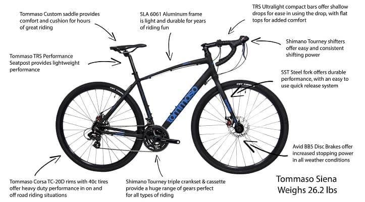 Tommaso Siena Shimano Tourney Gravel Adventure Bike
