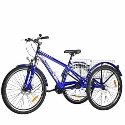 VANELL Adult Mountain Tricycle 7-Speed Three Wheel Cruiser Trike