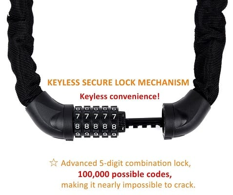 Sportneer Bicycle Chain Lock, 5-Digit Resettable Combination Anti-Theft